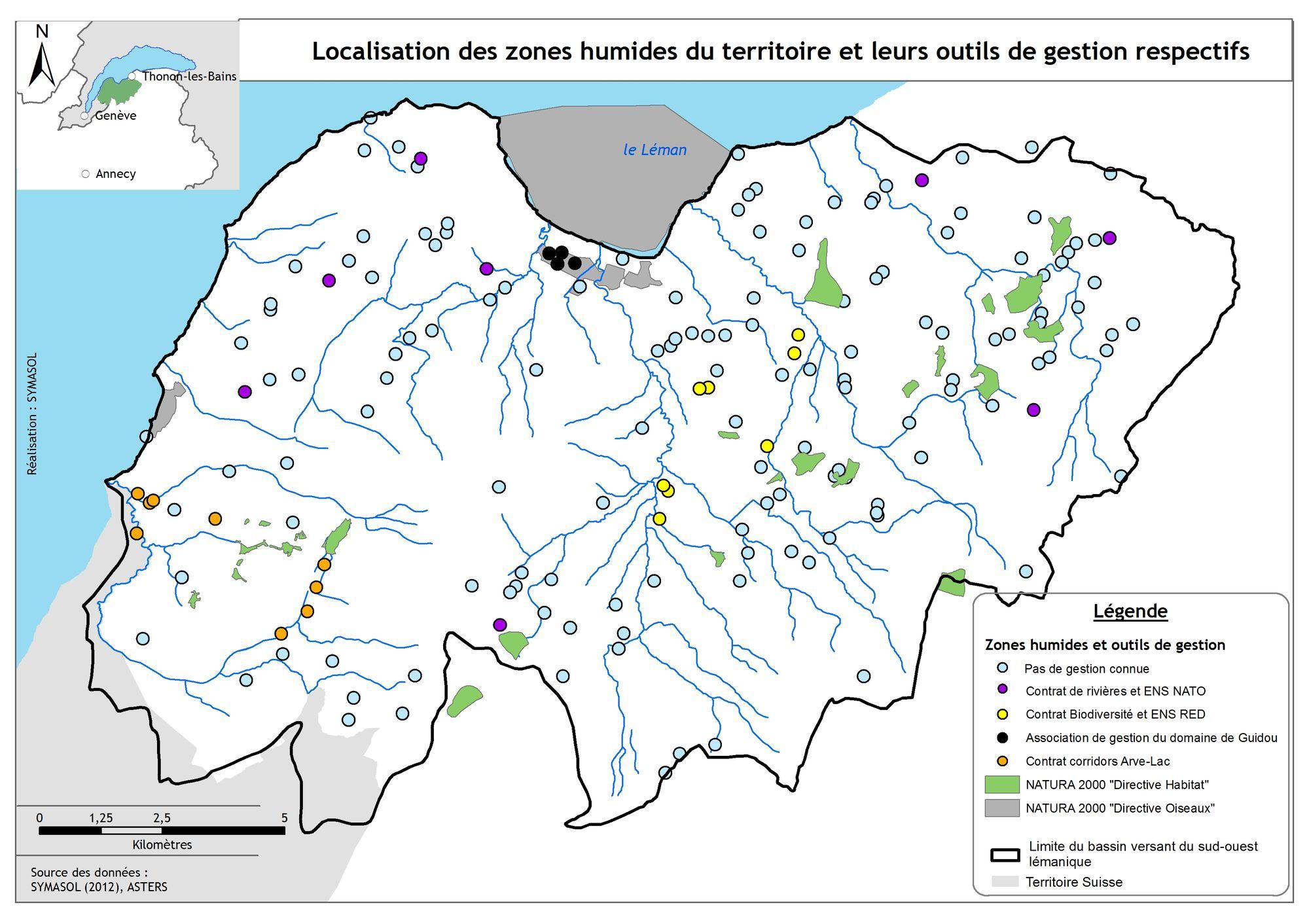 Localisation des zones humides